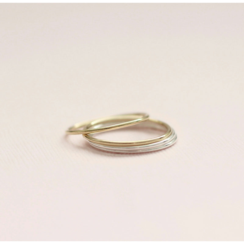 Gold and sterling silver plain stacking rings handmade in Canada