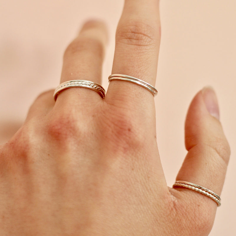 handmade minimal and dainty sterling silver stackable rings