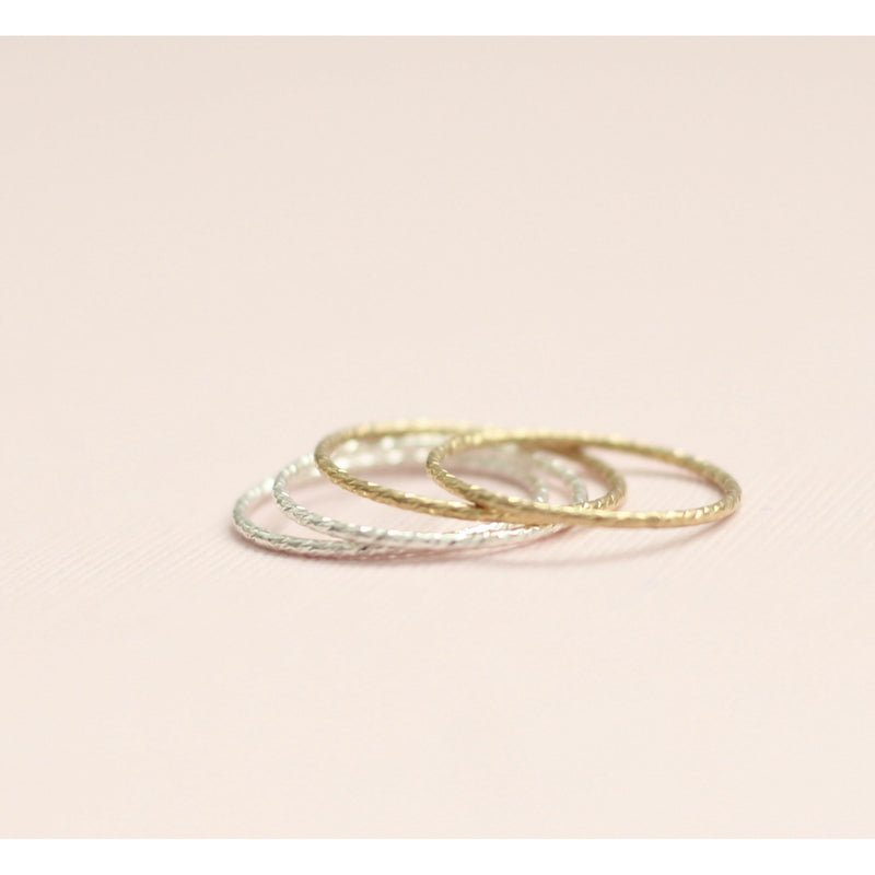 Minimal Sparkle stackable rings handmade in Canada