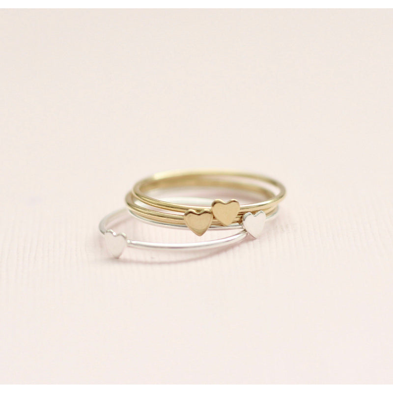 Gold and silver heart stackable rings made in Canada