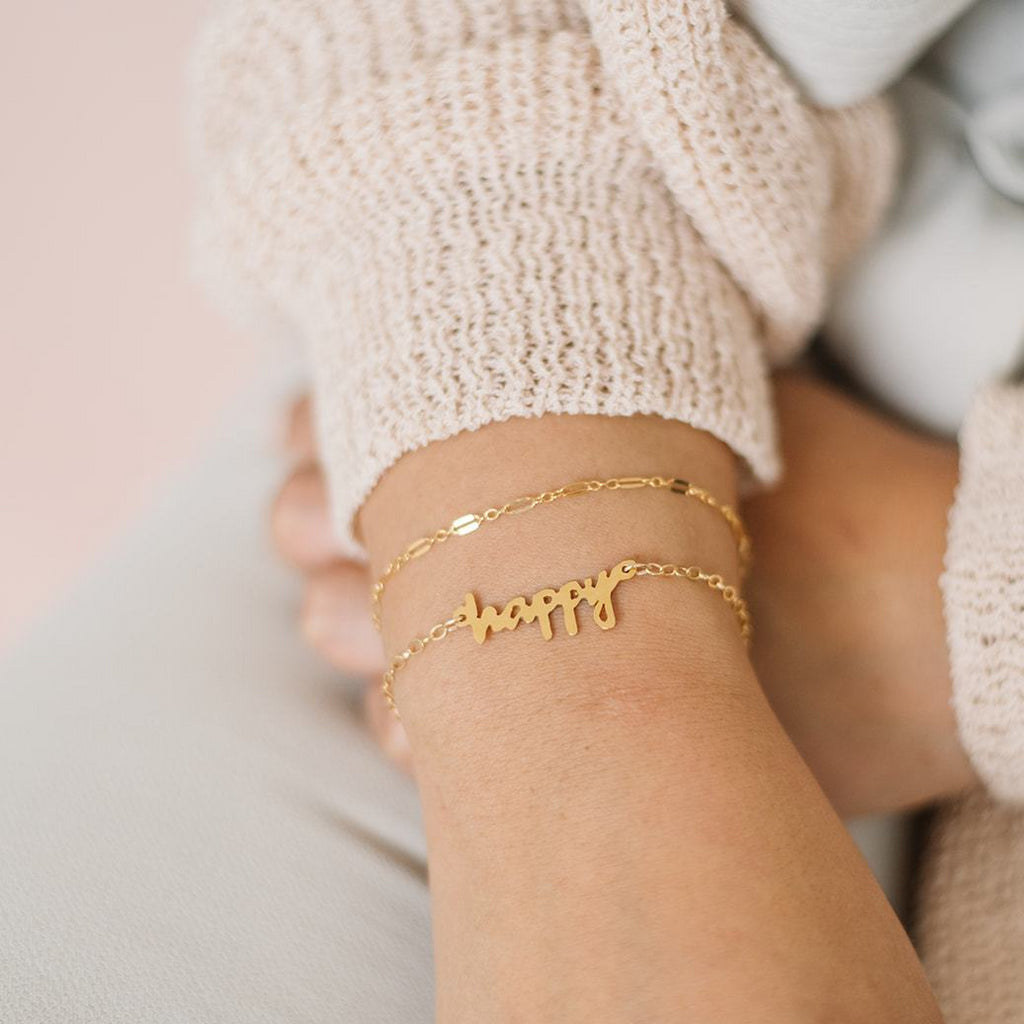 Handmade custom handwriting cutout bracelet in gold