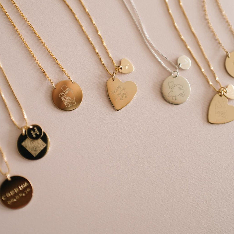 Variety of custom handwriting necklace in coin and heart pendants