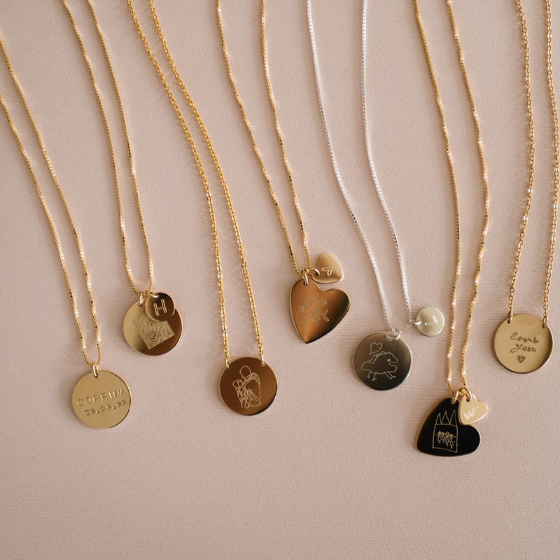 Custom handwriting and drawing necklaces