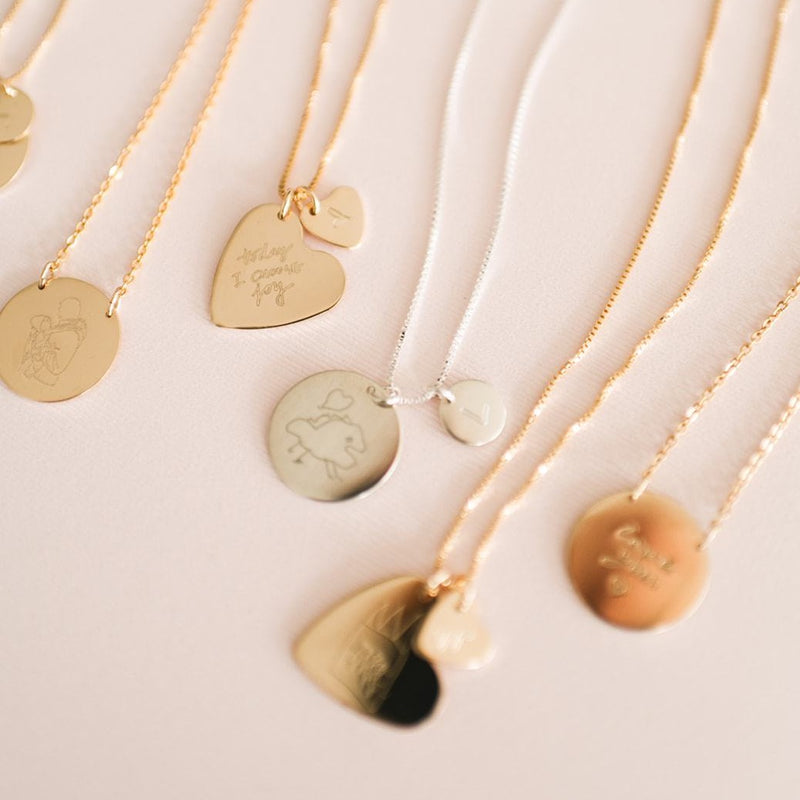 Gold, rose gold and sterling silver handmade custom drawing necklaces