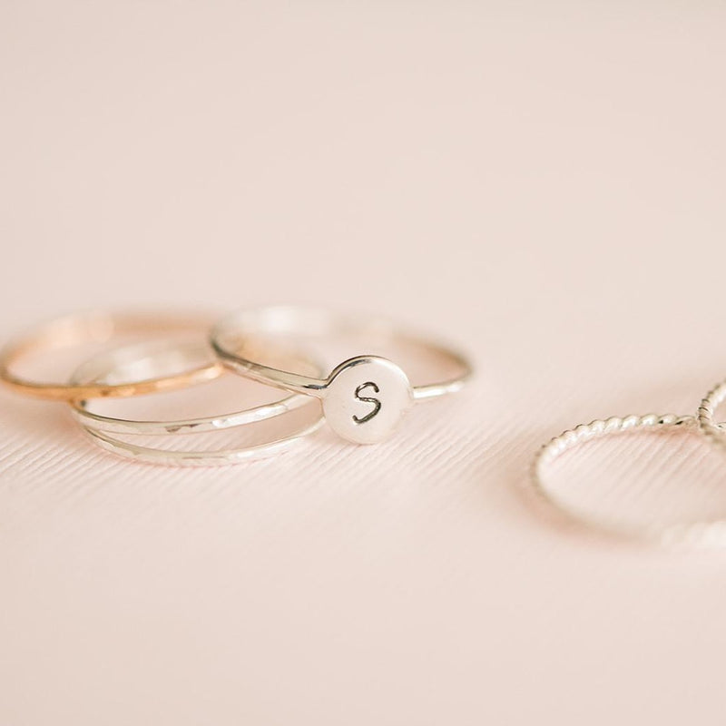 Minimal Hammered Stackable Ring