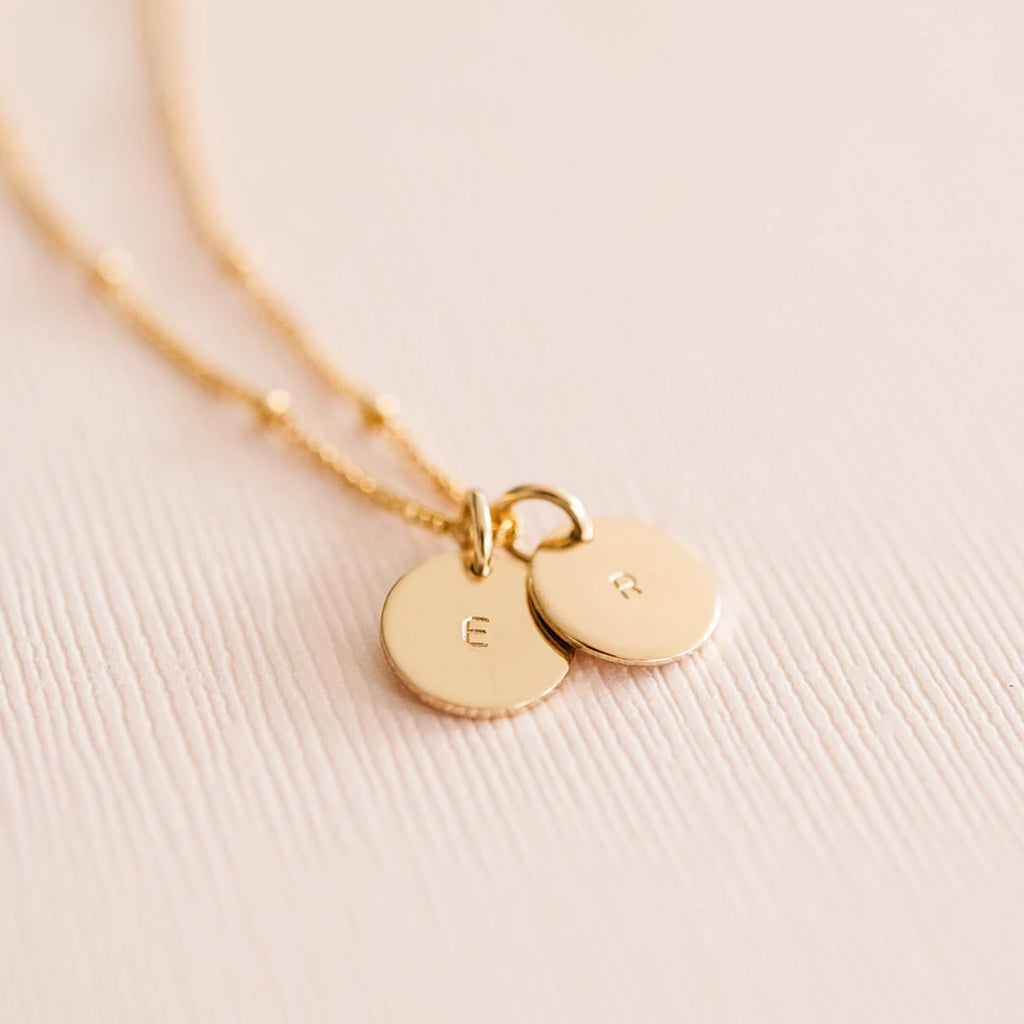 Hand-stamped initial coin necklace custom