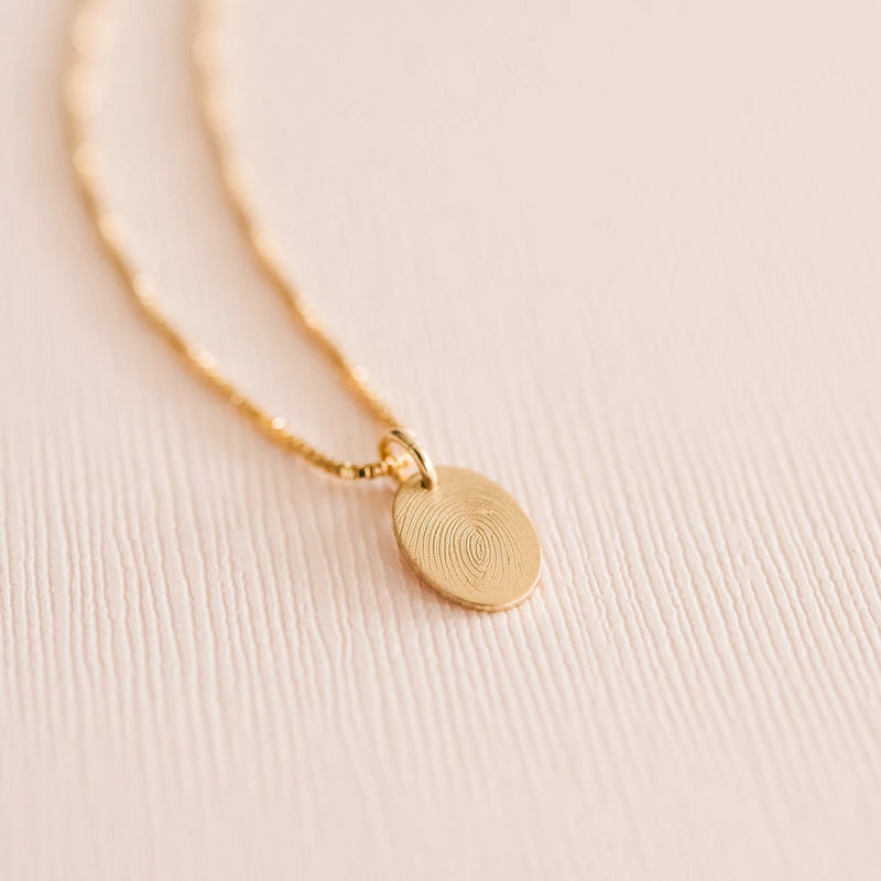 Gold handmade custom fingerprint oval necklace
