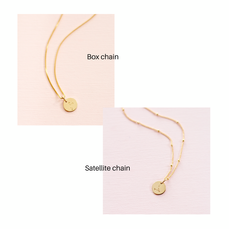 Box chain and satellite chain for zodiac constellation necklace