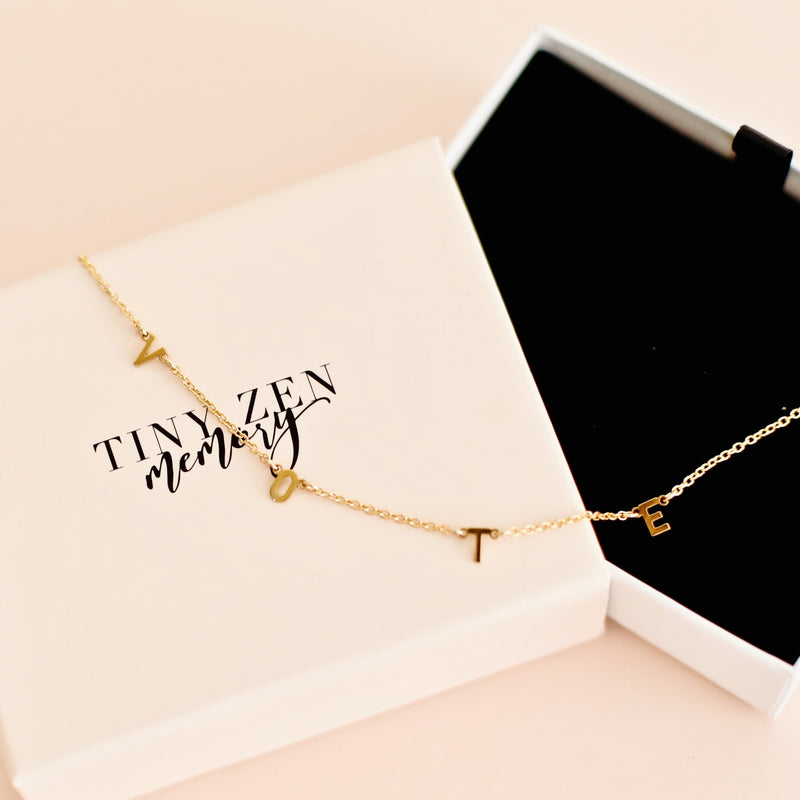 Michelle Obama Necklace, VOTE letter necklace made with luxury materials 18K gold vermeil or sterling silver