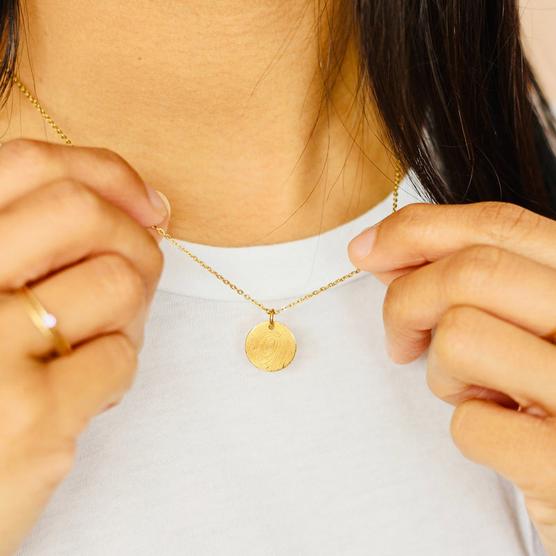 Custom Fingerprint Necklace in Gold Vermeil