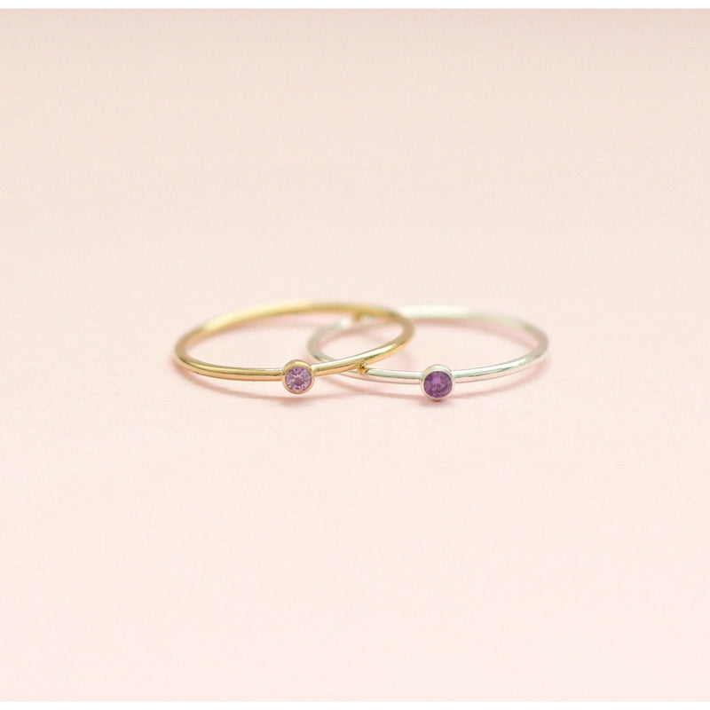 Handmade February birthstone ring made with sterling silver and gold filled. Sustainably made February birthstone rings made in Canada