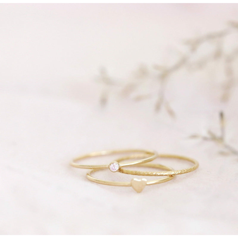 Gold heart stackable rings