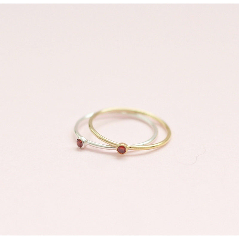 Handmade January garnet birthstone ring made with sterling silver and gold filled, sustainably made birthstone ring made in Canada