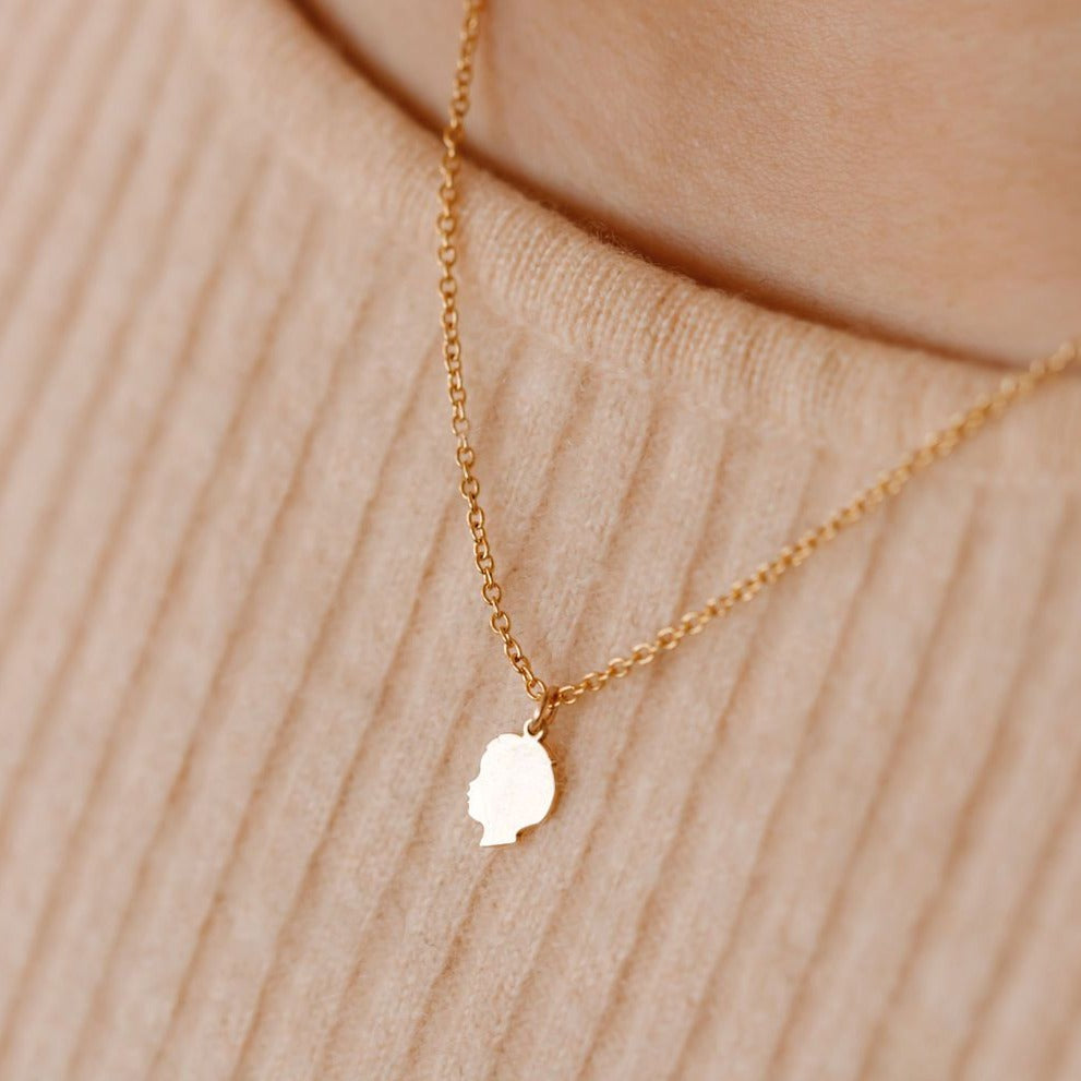 Kids Silhouette Necklace - Solid Gold