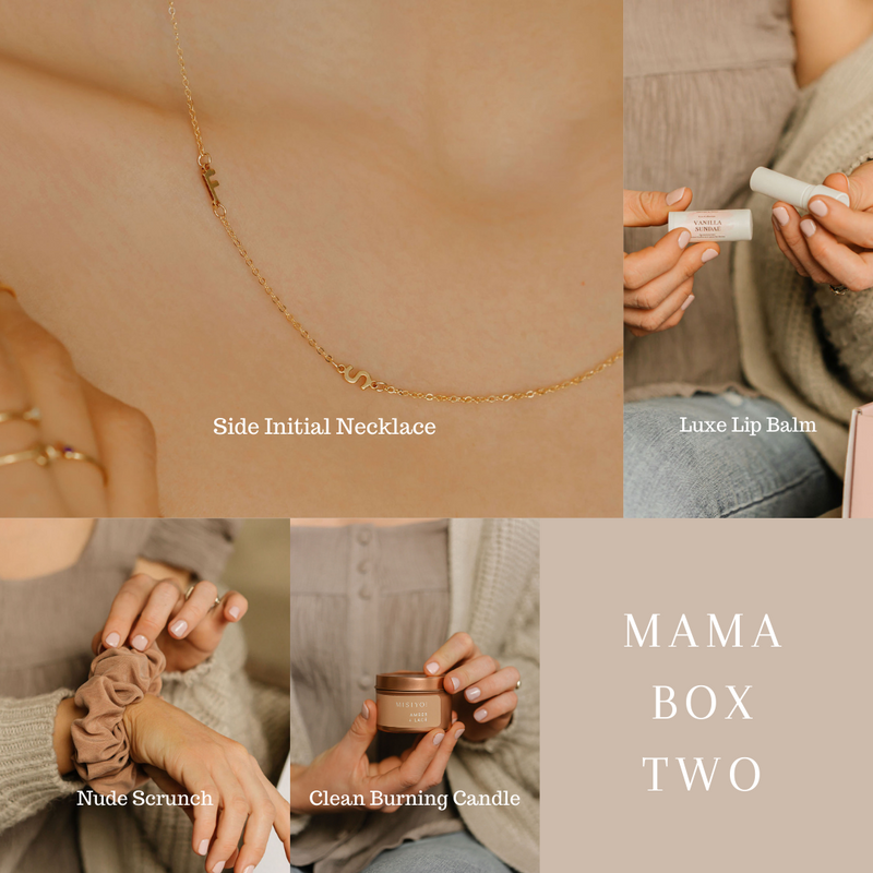 mama box two - side letter necklace, lip balm, scrunchie, candle