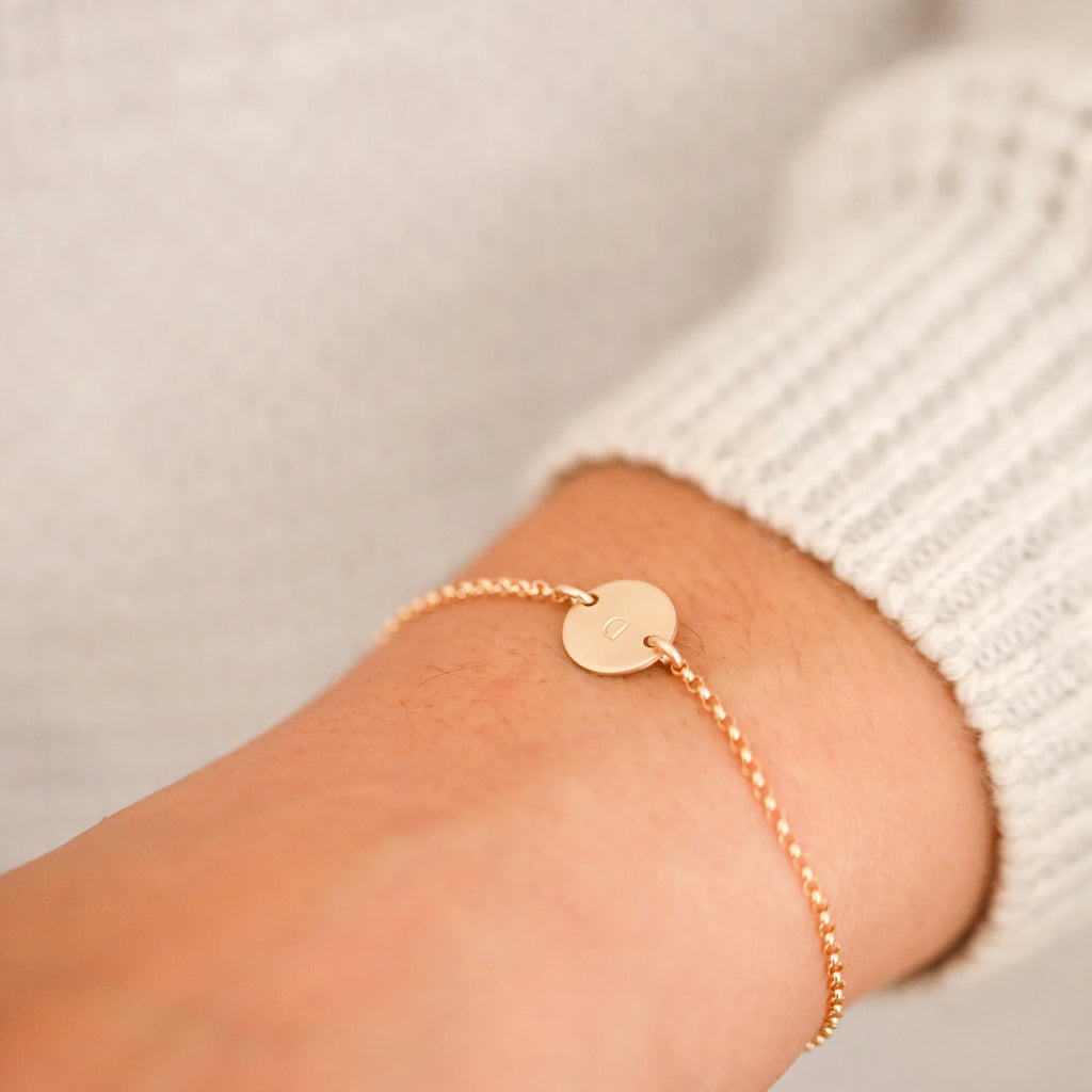 Handmade custom initial coin bracelet in gold