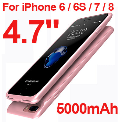 External Battery Power Bank Charging Case For iPhone 6 6S 7