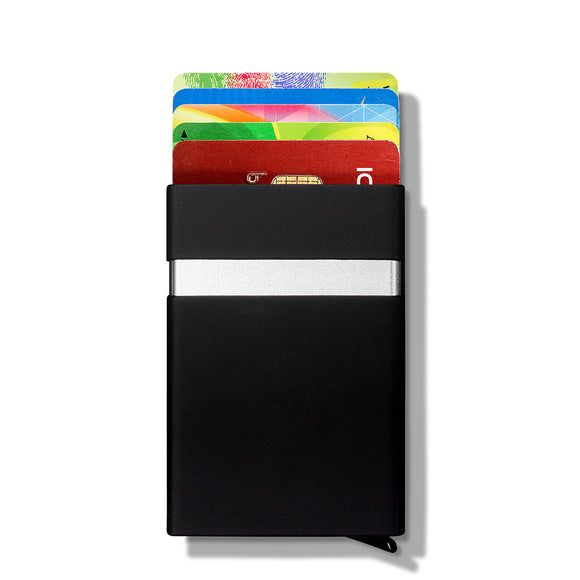 Compact Click to Open Credit Card Holder with RFID Protection