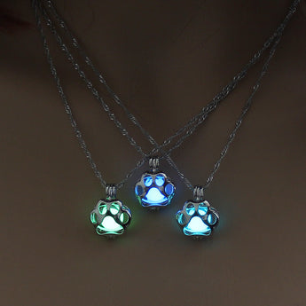 Glow in the Dark Dog Paw Silver Necklace