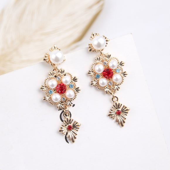 Statement Rhinestone Pearl Drop Earrings