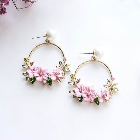 Elegant Circle Flower Earrings Pearl Rhinestone