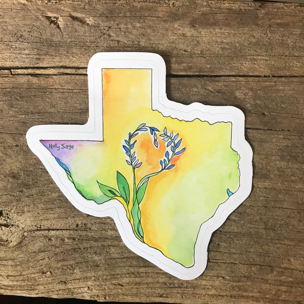 Texas state outline sticker with bluebonnet growing in the center