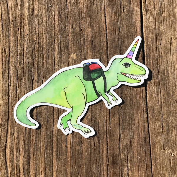 Fun and whimsical hiker T. Rex sticker