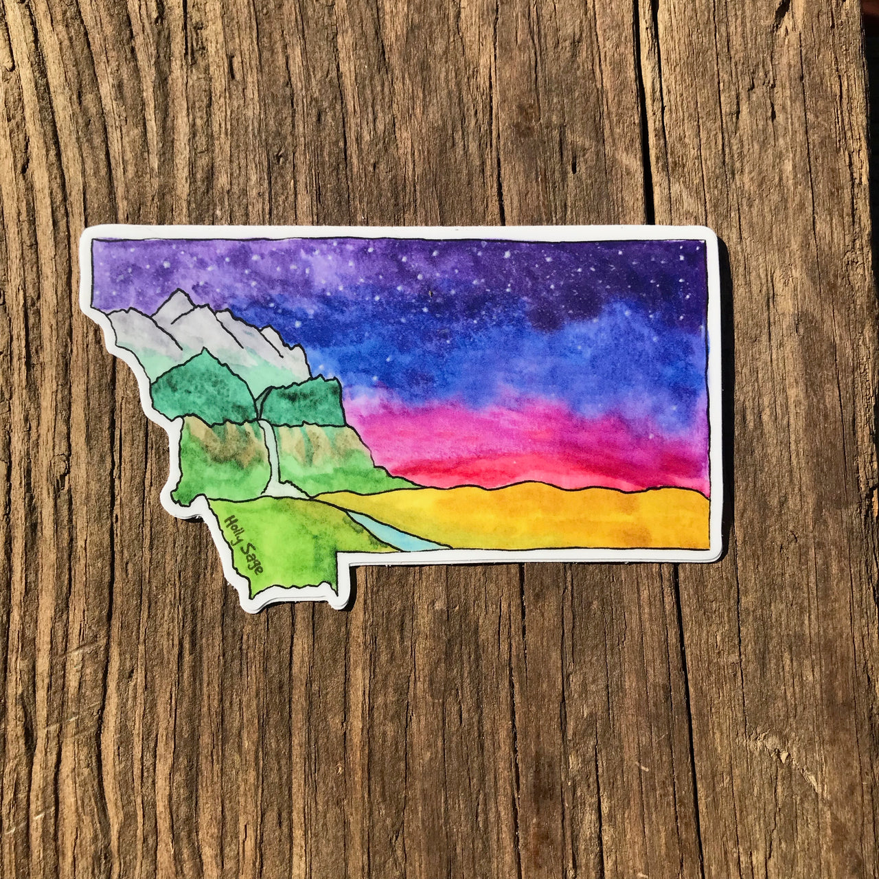Montana landscape inside the Montana state outline sticker