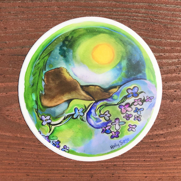 Abstract mountain grove with forget-me-not wildflowers sticker