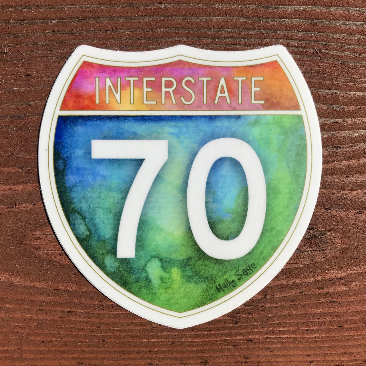 Watercolor painted I-70 sticker