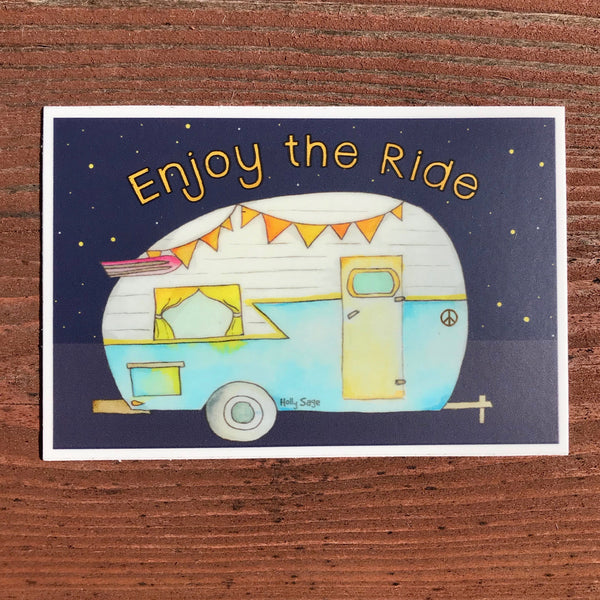 Camper trailer sticker with Enjoy the Ride
