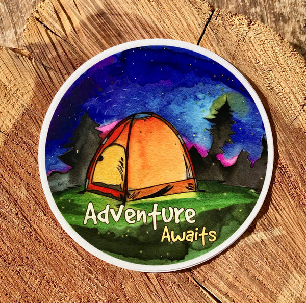 Adventure Awaits night sky camping sticker