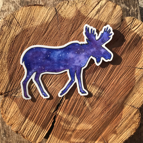 Starry night sky in moose outline sticker