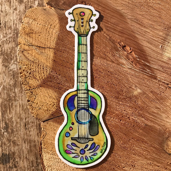 Colorfully decorated guitar sticker