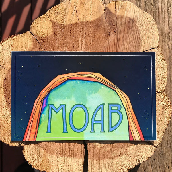 Moab arch under night sky sticker