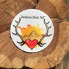 Antlers and mountains celebrating Jackson Hole sticker