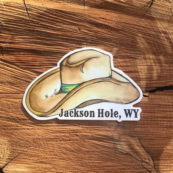 Cowboy hat sticker with Jackson Hole