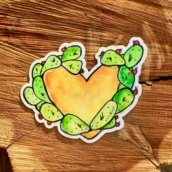 Prickly pear cactus around heart sticker