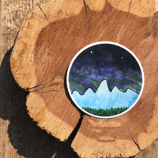 Teton Mountains at night sticker