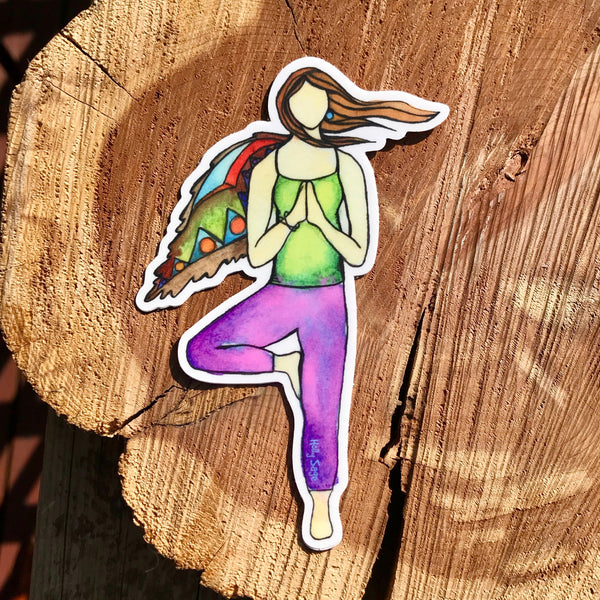 Wind Tree Pose Sticker