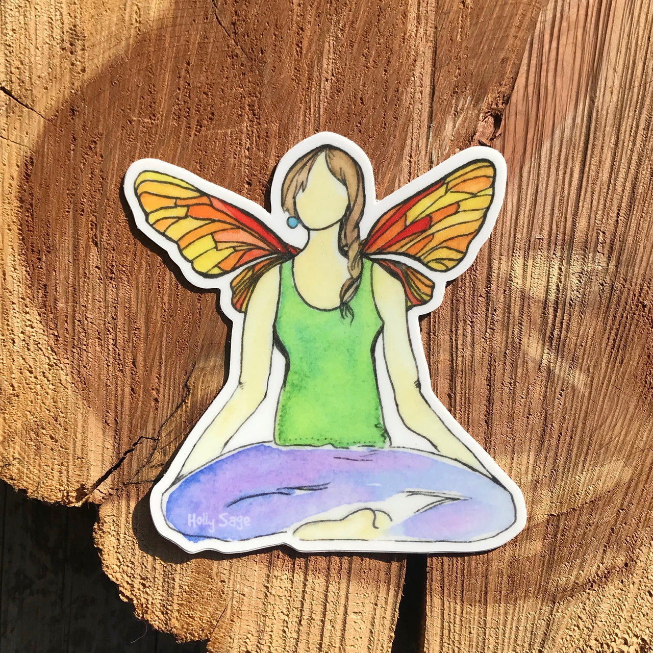 Butterfly Yoga pose with wings sticker