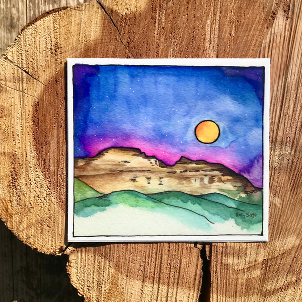 Sleeping Indian mountain sticker with the moon rising above
