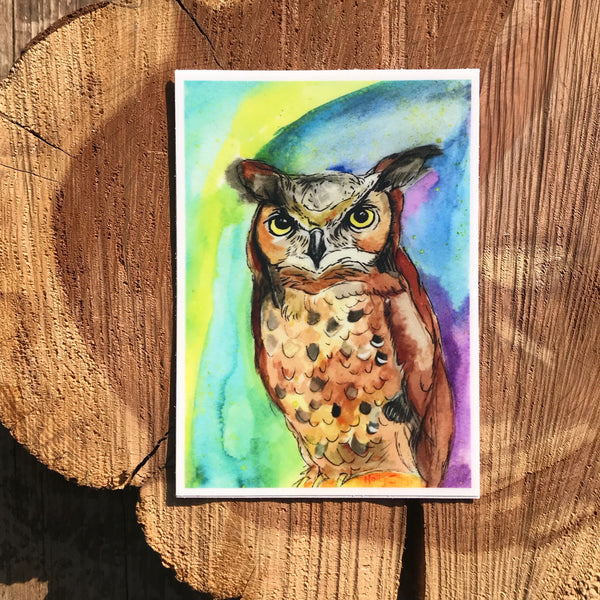 Painted great-horned owl sticker