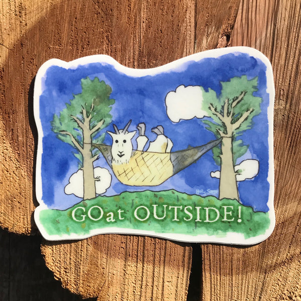 Mountain goat sticker in a hammock