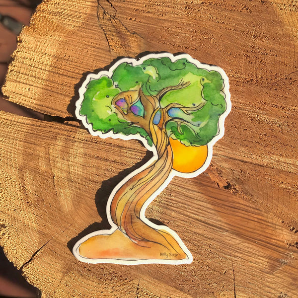 Moon behind a juniper tree sticker