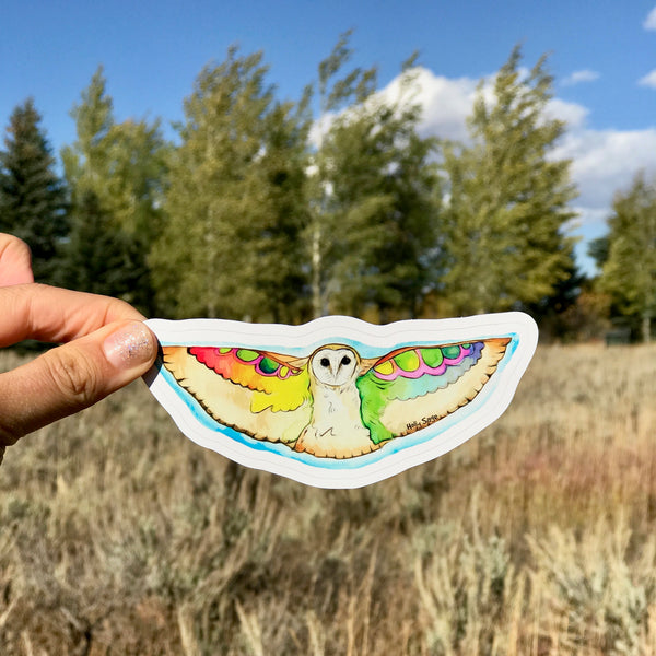 Colorful barn owl sticker