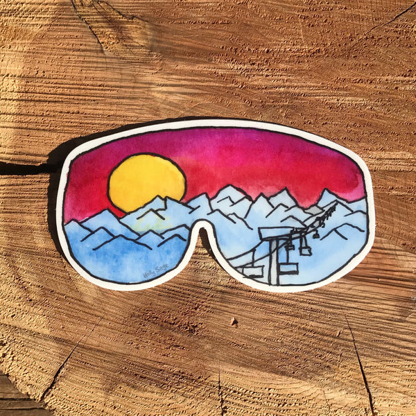 Ski resort and mountain landscape in ski goggles sticker