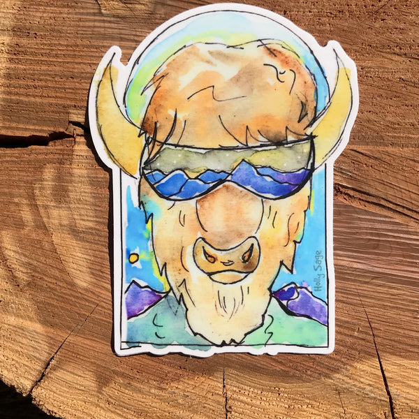 A sticker of a bison dressed up in ski gear ready for ski slopes