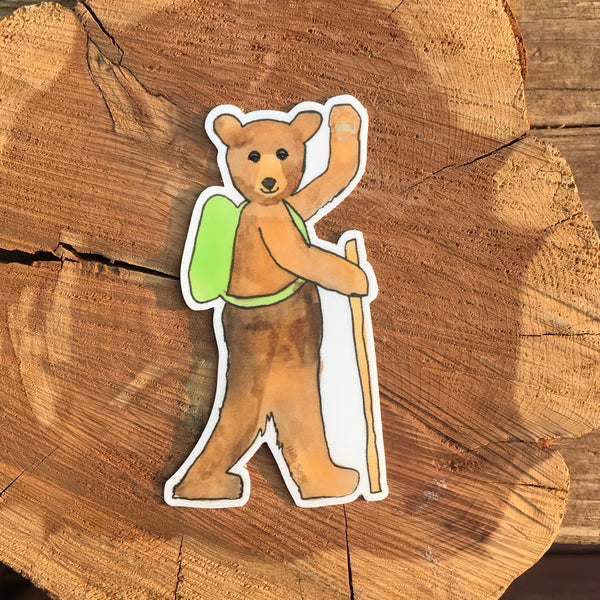 Bear on a hike sticker with walking stick and backpack