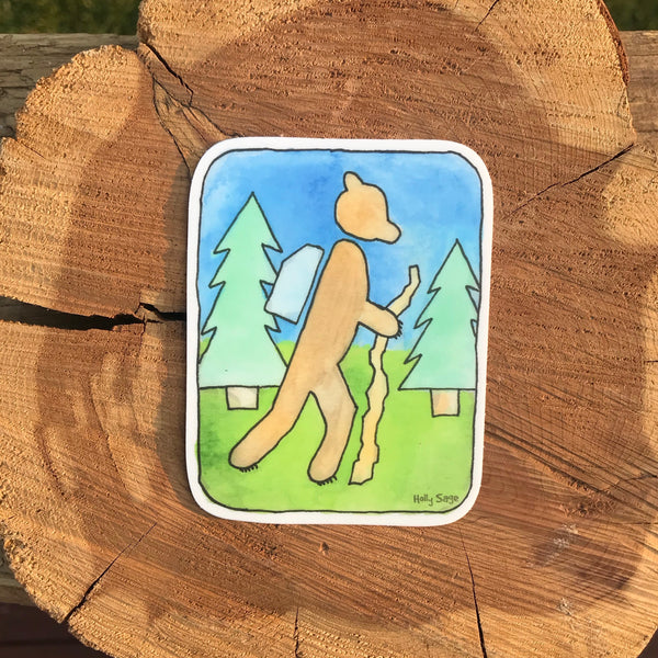 Bear in a hiking sign sticker